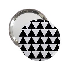 Triangle2 Black Marble & White Linen 2 25  Handbag Mirrors by trendistuff