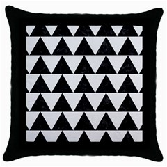 Triangle2 Black Marble & White Linen Throw Pillow Case (black) by trendistuff
