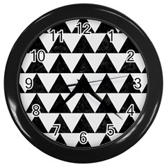 Triangle2 Black Marble & White Linen Wall Clocks (black) by trendistuff