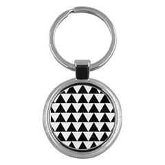 Triangle2 Black Marble & White Linen Key Chains (round)  by trendistuff