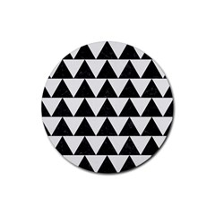 Triangle2 Black Marble & White Linen Rubber Coaster (round)  by trendistuff