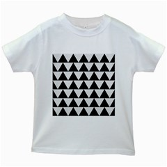 Triangle2 Black Marble & White Linen Kids White T Shirts by trendistuff