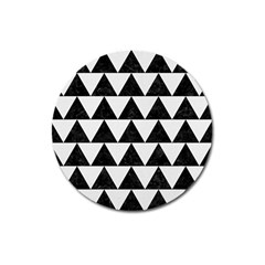 Triangle2 Black Marble & White Linen Magnet 3  (round) by trendistuff