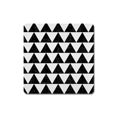 TRIANGLE2 BLACK MARBLE & WHITE LINEN Square Magnet