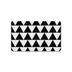 TRIANGLE2 BLACK MARBLE & WHITE LINEN Magnet (Name Card)