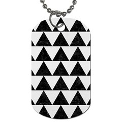 Triangle2 Black Marble & White Linen Dog Tag (two Sides) by trendistuff