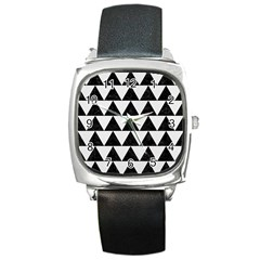 Triangle2 Black Marble & White Linen Square Metal Watch by trendistuff