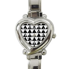 Triangle2 Black Marble & White Linen Heart Italian Charm Watch by trendistuff