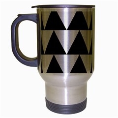 Triangle2 Black Marble & White Linen Travel Mug (silver Gray) by trendistuff