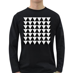 Triangle2 Black Marble & White Linen Long Sleeve Dark T Shirts by trendistuff