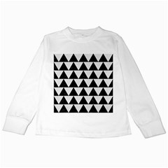 Triangle2 Black Marble & White Linen Kids Long Sleeve T Shirts by trendistuff