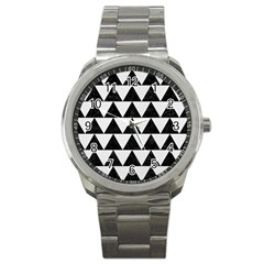 Triangle2 Black Marble & White Linen Sport Metal Watch by trendistuff