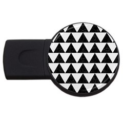 Triangle2 Black Marble & White Linen Usb Flash Drive Round (4 Gb) by trendistuff