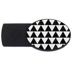 Triangle2 Black Marble & White Linen Usb Flash Drive Oval (4 Gb) by trendistuff