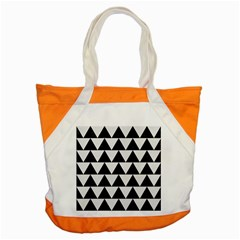 TRIANGLE2 BLACK MARBLE & WHITE LINEN Accent Tote Bag