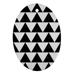 Triangle2 Black Marble & White Linen Oval Ornament (two Sides) by trendistuff