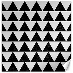 TRIANGLE2 BLACK MARBLE & WHITE LINEN Canvas 12  x 12