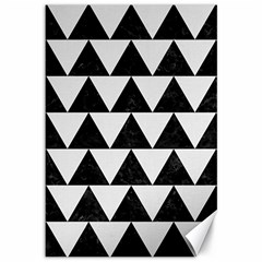 TRIANGLE2 BLACK MARBLE & WHITE LINEN Canvas 12  x 18