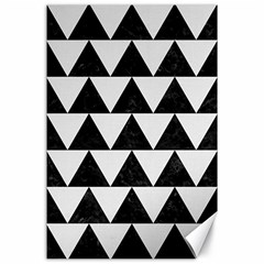 TRIANGLE2 BLACK MARBLE & WHITE LINEN Canvas 24  x 36