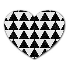 TRIANGLE2 BLACK MARBLE & WHITE LINEN Heart Mousepads