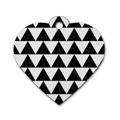 Triangle2 Black Marble & White Linen Dog Tag Heart (two Sides) by trendistuff