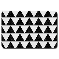 TRIANGLE2 BLACK MARBLE & WHITE LINEN Large Doormat