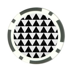 Triangle2 Black Marble & White Linen Poker Chip Card Guard by trendistuff
