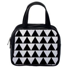 Triangle2 Black Marble & White Linen Classic Handbags (one Side) by trendistuff