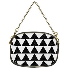 Triangle2 Black Marble & White Linen Chain Purses (one Side)  by trendistuff
