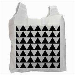 TRIANGLE2 BLACK MARBLE & WHITE LINEN Recycle Bag (One Side)