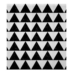 TRIANGLE2 BLACK MARBLE & WHITE LINEN Shower Curtain 66  x 72  (Large)
