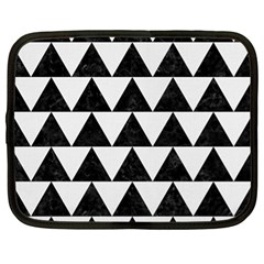 TRIANGLE2 BLACK MARBLE & WHITE LINEN Netbook Case (XL)