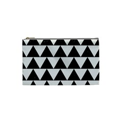 TRIANGLE2 BLACK MARBLE & WHITE LINEN Cosmetic Bag (Small)