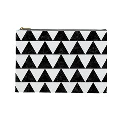 TRIANGLE2 BLACK MARBLE & WHITE LINEN Cosmetic Bag (Large)