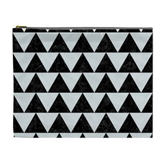 TRIANGLE2 BLACK MARBLE & WHITE LINEN Cosmetic Bag (XL)