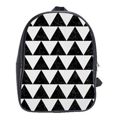 TRIANGLE2 BLACK MARBLE & WHITE LINEN School Bag (Large)