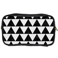 TRIANGLE2 BLACK MARBLE & WHITE LINEN Toiletries Bags 2-Side