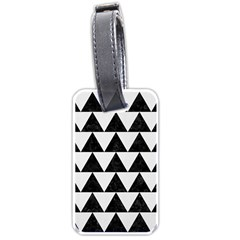 TRIANGLE2 BLACK MARBLE & WHITE LINEN Luggage Tags (One Side)