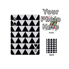 TRIANGLE2 BLACK MARBLE & WHITE LINEN Playing Cards 54 (Mini)