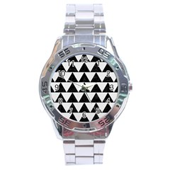 Triangle2 Black Marble & White Linen Stainless Steel Analogue Watch by trendistuff