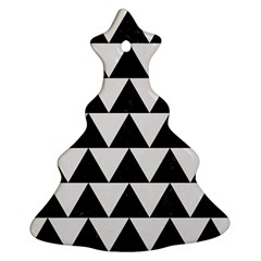 TRIANGLE2 BLACK MARBLE & WHITE LINEN Christmas Tree Ornament (Two Sides)