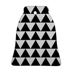 TRIANGLE2 BLACK MARBLE & WHITE LINEN Bell Ornament (Two Sides)