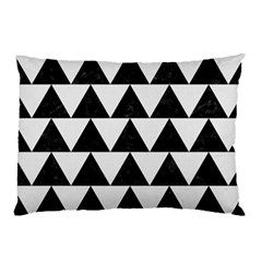 Triangle2 Black Marble & White Linen Pillow Case (two Sides) by trendistuff