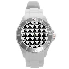 Triangle2 Black Marble & White Linen Round Plastic Sport Watch (l) by trendistuff