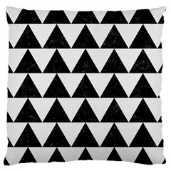Triangle2 Black Marble & White Linen Large Cushion Case (one Side) by trendistuff