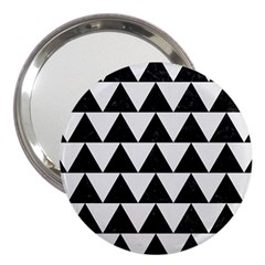 Triangle2 Black Marble & White Linen 3  Handbag Mirrors by trendistuff