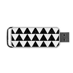 Triangle2 Black Marble & White Linen Portable Usb Flash (two Sides) by trendistuff