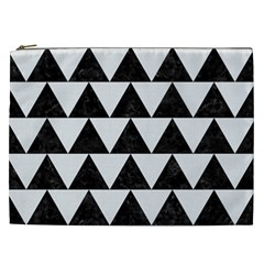 TRIANGLE2 BLACK MARBLE & WHITE LINEN Cosmetic Bag (XXL)