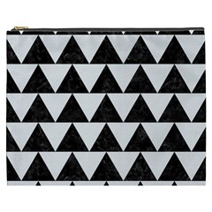 TRIANGLE2 BLACK MARBLE & WHITE LINEN Cosmetic Bag (XXXL)