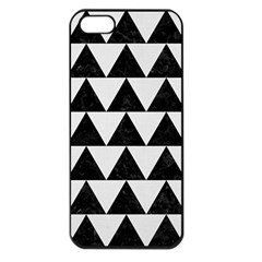 TRIANGLE2 BLACK MARBLE & WHITE LINEN Apple iPhone 5 Seamless Case (Black)